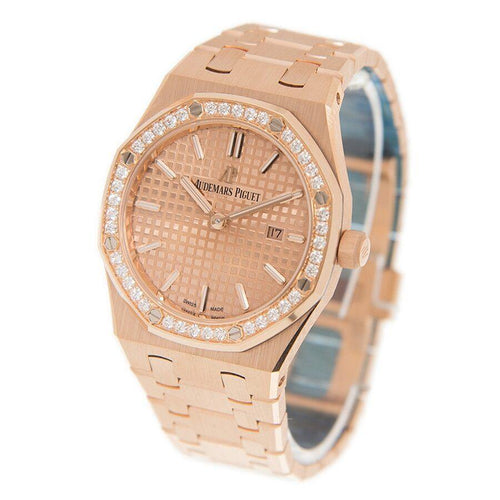 Ladies Audemars Piguet Royal Oak Quartz 67651OR.ZZ.1261OR.03 Pink Index Diamond Bezel Rose Gold 33mm - BRAND NEW - Global Timez