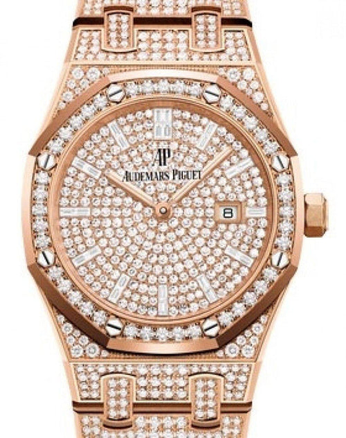 Ladies Audemars Piguet Royal Oak Quartz Diamond Set Rose Gold Diamond Paved Diamond Dial & Diamond Bezel Diamond Set Bracelet 67652OR.ZZ.1265OR.01 - BRAND NEW - Global Timez
