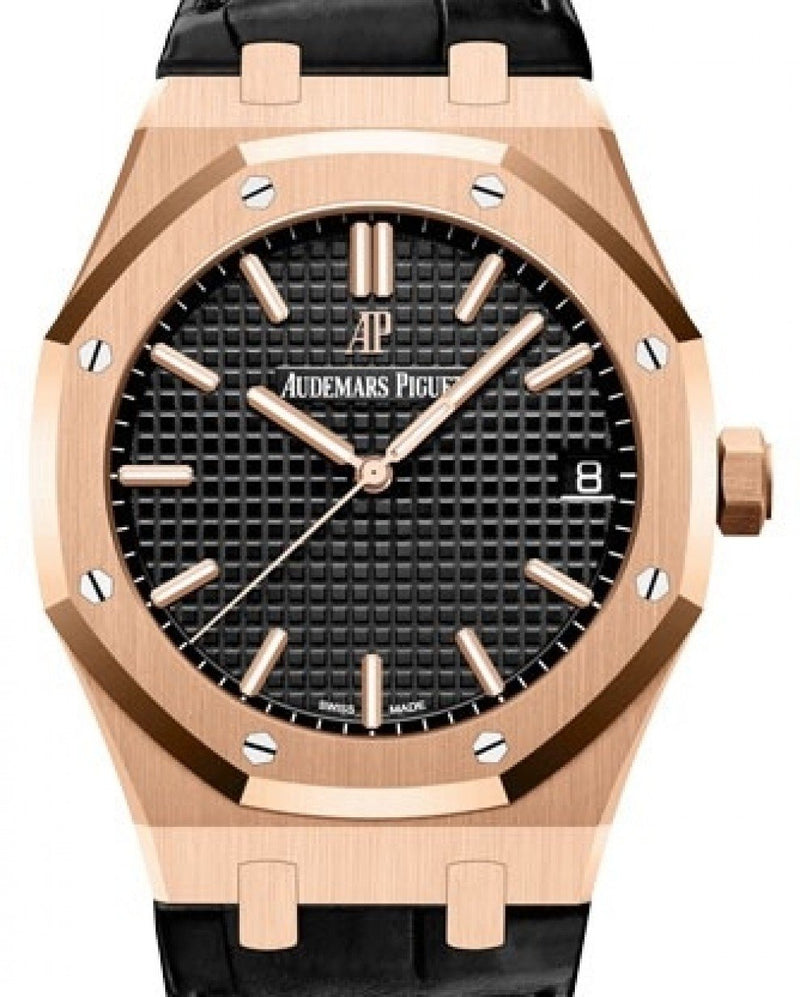 Men's Audemars Piguet Royal Oak Selfwinding Rose Gold Black Index Dial & Fixed Bezel Leather Bracelet 15500OR.OO.D002CR.01 - BRAND NEW