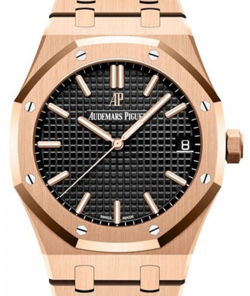 Men's Audemars Piguet Royal Oak Selfwinding Rose Gold Black Index Dial & Fixed Bezel Rose Gold Bracelet 15500OR.OO.1220OR.01 - BRAND NEW - Global Timez