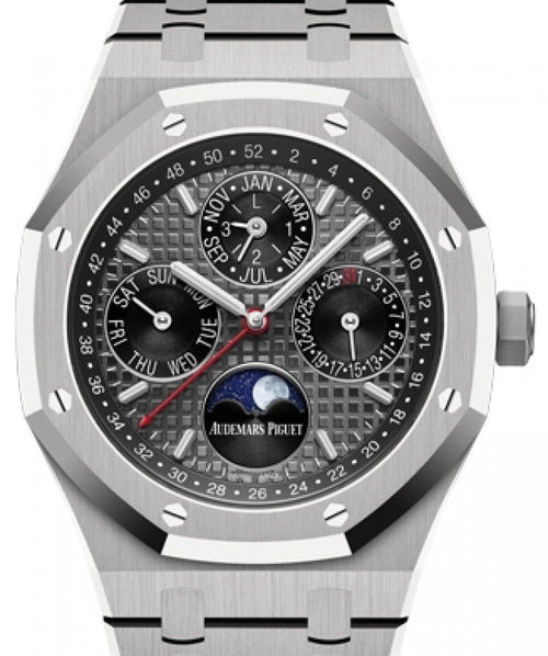Men's Audemars Piguet Royal Oak Perpetual Calendar Titanium Grey Index Dial & Fixed Bezel Titanium Bracelet 26609TI.OO.1220TI.01 - BRAND NEW - Global Timez