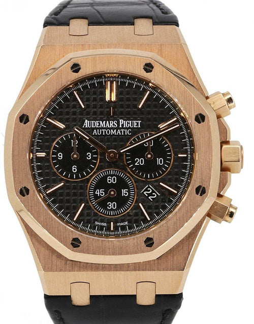 Men's Audemars Piguet Royal Oak Rose Gold Chronograph 41mm Black Dial Leather Bracelet 26320OR.OO.D002CR.01- PRE-OWNED - Global Timez