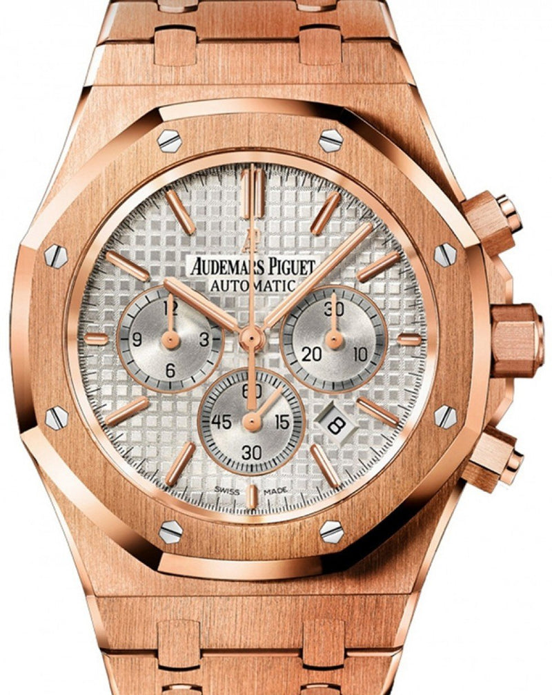 Men's Audemars Piguet Royal Oak Rose Gold Chronograph 41mm Silver Index Dial 26320OR.OO.1220OR.02 PRE-OWNED