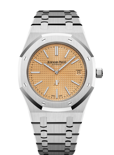 "Men's Audemars Piguet Royal Oak ""Jumbo"" Extra-Thin White Gold Pink Gold-Toned Index Dial & Fixed Bezel White Gold Bracelet 15202BC.OO.1240BC.01 - BRAND NEW - Global Timez"