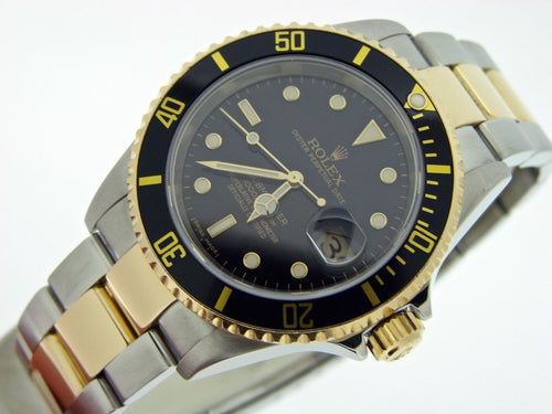 Men's Rolex Two-Tone 18K/SS Submariner Black 16613T PRE-OWNED