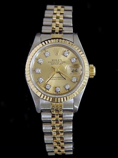Ladies Rolex Two-Tone 18K/SS Datejust Champagne Diamond 69173 PRE-OWNED - Global Timez