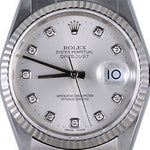 Men's Rolex Stainless Steel Datejust Silver Diamond 16014 PRE-OWNED