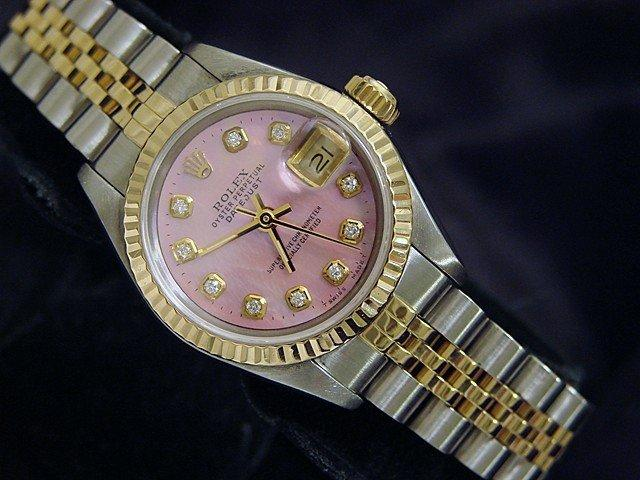 Ladies Rolex Two-Tone 18K/SS Datejust Pink MOP Diamond 69173 PRE-OWNED