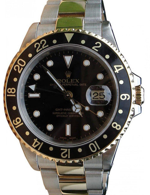 Rolex GMT-Master II 16713 Men's 40mm Black 18k Yellow Gold Stainless Steel PRE-OWNED - Global Timez