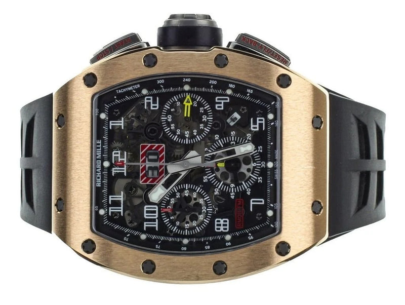 Men's Richard Mille RM011-FM Felipe Massa Flyback Chronograph in Rose Gold and Titanium on Black Rubber Strap with Transparent Dial RM011 FM PRE-OWNED