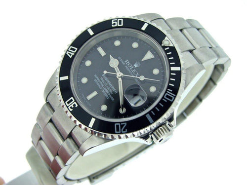 Men's Rolex Stainless Steel Submariner Black 16610T PRE-OWNED - Global Timez