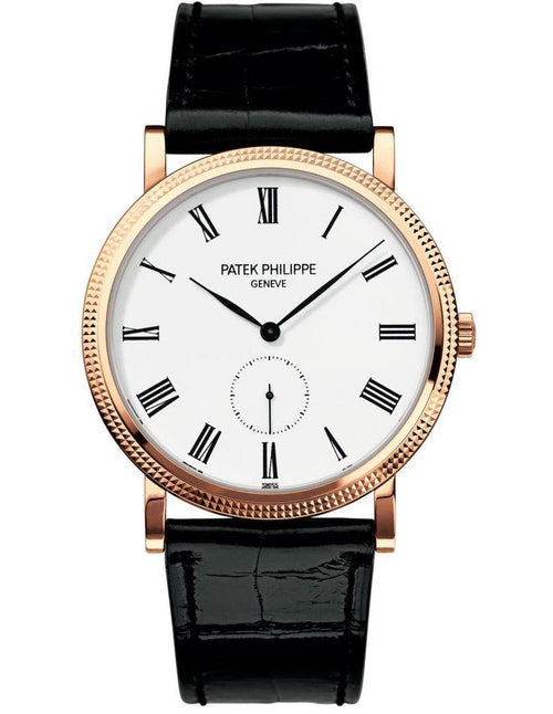 Men's Patek Philippe 5119G-001 Calatrava 36mm White Roman Hobnail White Gold Leather BRAND NEW - Global Timez