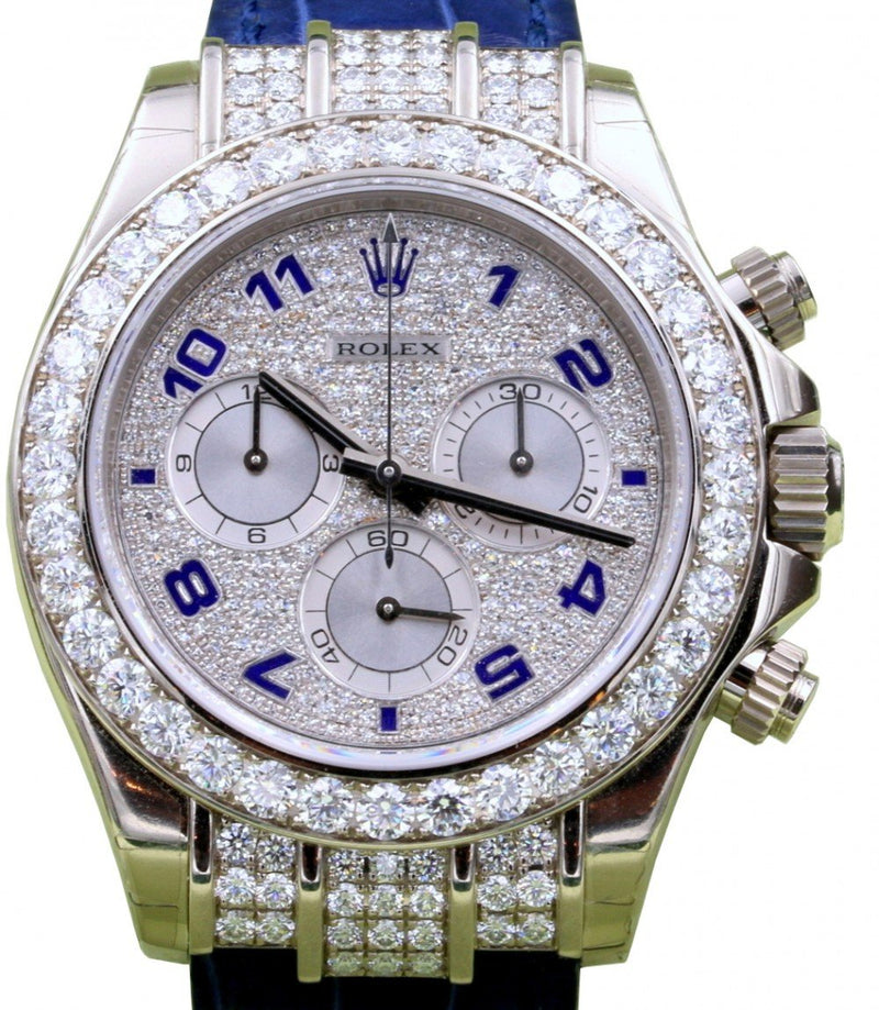 Men's Rolex Daytona White Gold Factory Diamond Bezel Pave Arabic Dial Leather 116599RBR - BRAND NEW