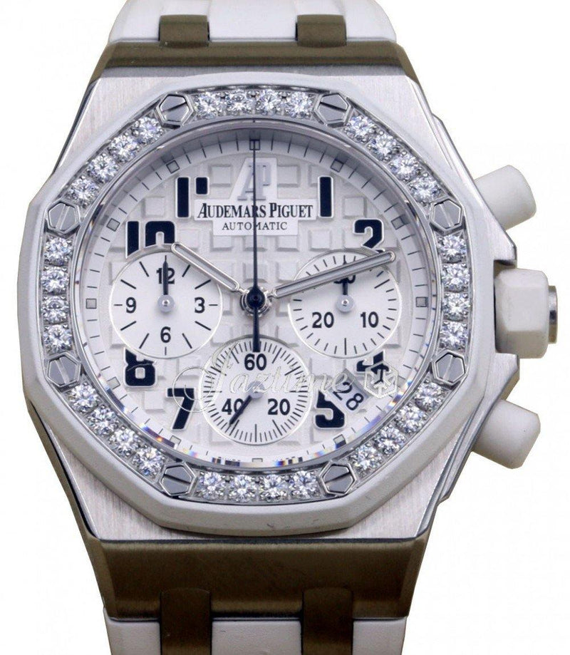 Ladies Audemars Piguet 26048SK.ZZ.D010CA.01 Royal Oak Offshore Chronograph 37mm White Arabic Diamond Bezel Stainless Steel Rubber BRAND NEW