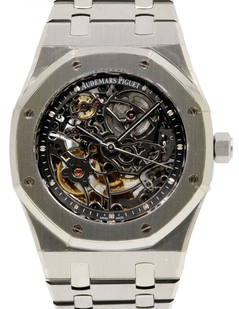 Men's Audemars Piguet 15305ST.OO.1220ST.01 Royal Oak Openworked Selfwinding 39mm Black Skeleton Stainless Steel PRE-OWNED