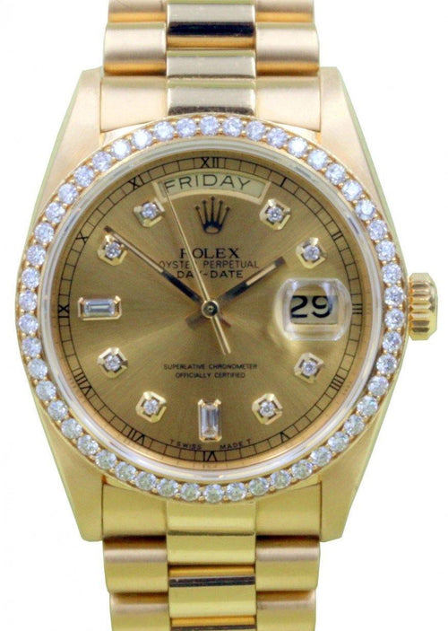 Men's Rolex Day-Date President 18038 36mm Diamond Bezel 18k Yellow Gold PRE-OWNED - Global Timez