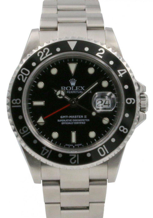 Rolex GMT-Master II 16710 Men's 40mm Black Stainless Steel Oyster Date PRE-OWNED - Global Timez