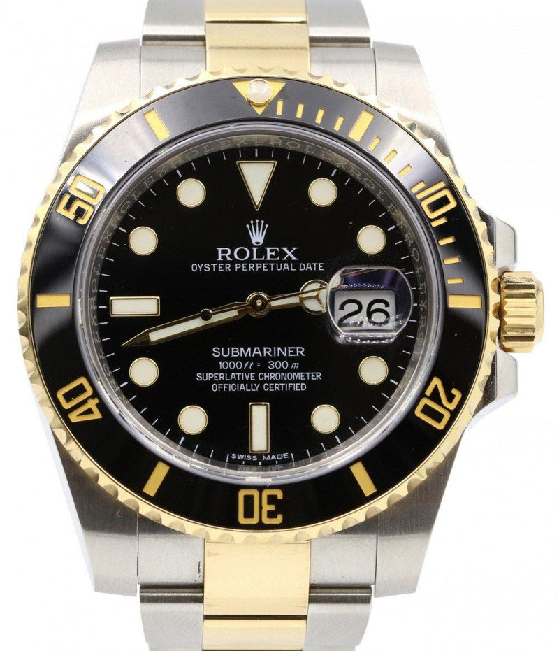 Rolex Submariner 116613LN 40mm Black Ceramic Yellow Gold Stainless Steel Oyster PRE-OWNED