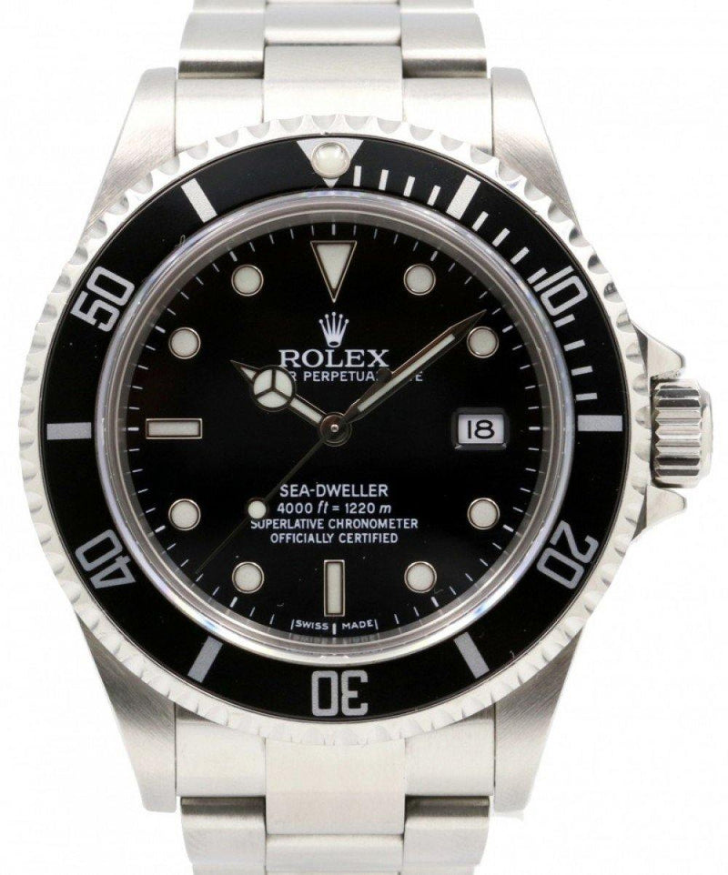 Men's Rolex Sea-Dweller Stainless Steel Black Dial Oyster Bracelet 40mm Diver Date 16600 PRE-OWNED