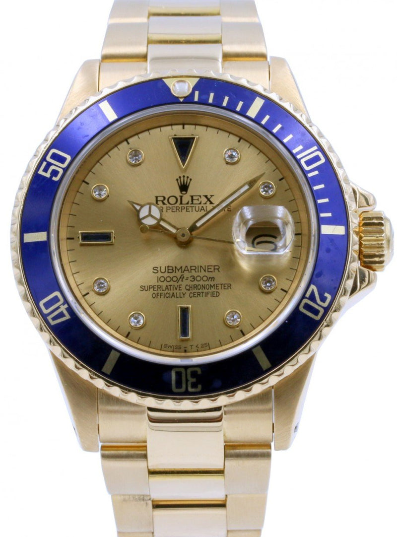 Rolex Submariner 16808 Men's 40mm Serti Champagne Blue Diamond 18k Yellow Gold Oyster - PRE-OWNED