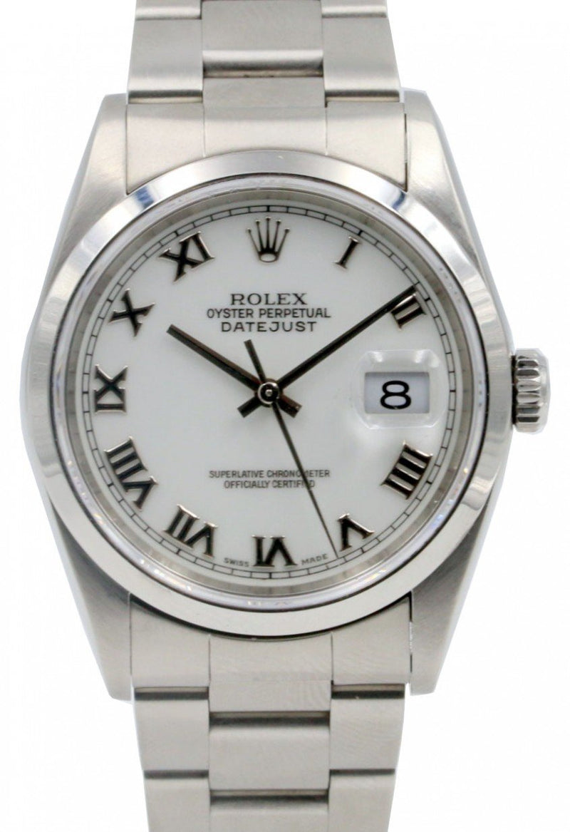 Rolex Datejust 16200 Men's 36mm White Roman Stainless Steel Oyster PRE-OWNED