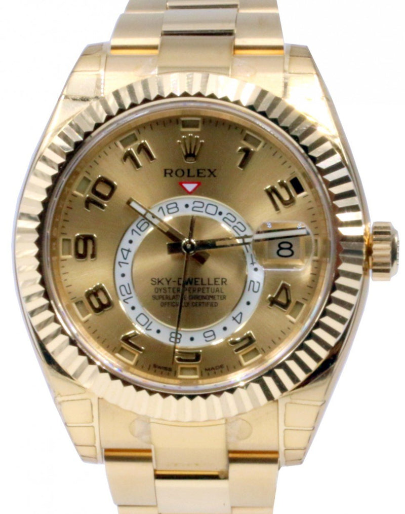 Men's Rolex Sky-Dweller 18k Yellow Gold Champagne Arabic 42mm GMT Calendar 326938 PRE-OWNED