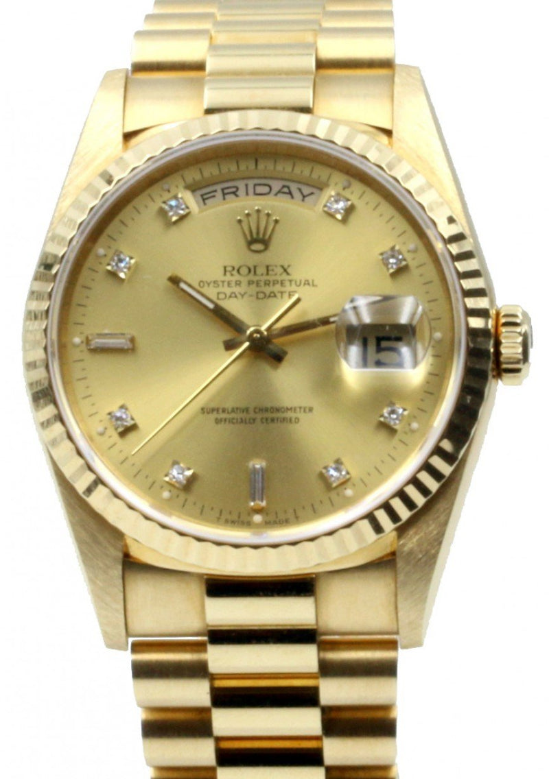 Men's Rolex Day-Date President 18238 Champagne 36mm Factory Diamonds 36mm 18k Yellow Gold PRE-OWNED