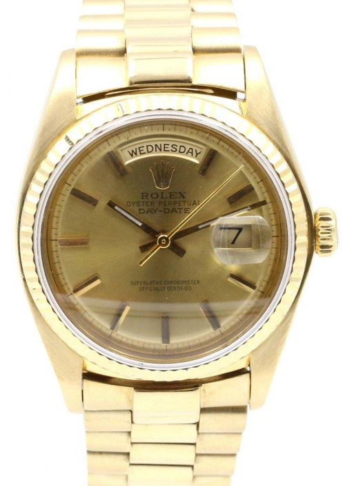 Men's Rolex Day-Date President 1803 Champagne Index 36mm 18k Yellow Gold PRE-OWNED - Global Timez