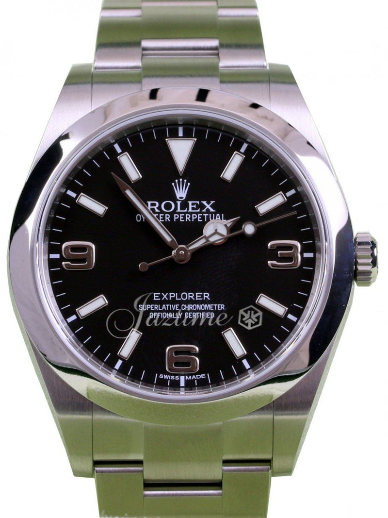 Men's Rolex Explorer I 214270 Stainless Steel SS Black PRE-OWNED
