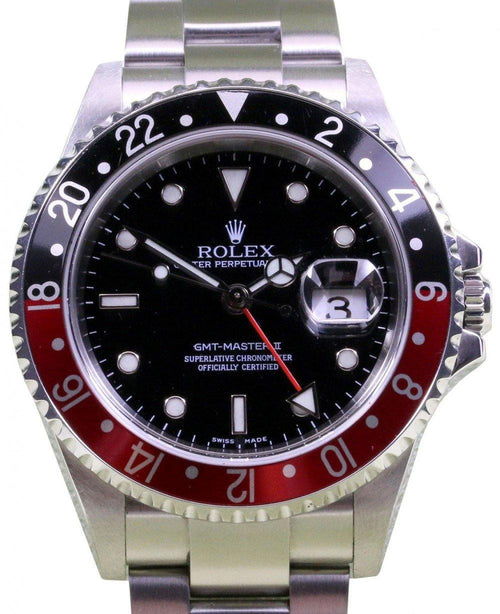 Rolex GMT-Master II 2 16710 Coke Men's 40mm Red Black Stainless Steel No Holes BOX/PAPERS PRE-OWNED - Global Timez