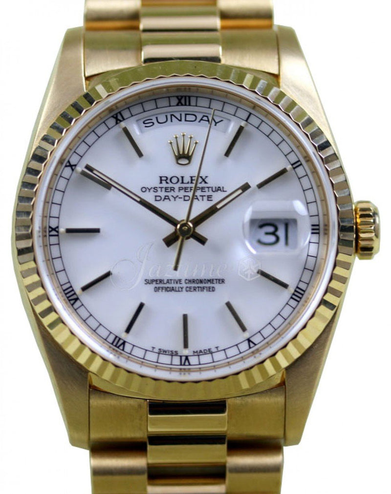 Men's Rolex Day Date 36 Yellow Gold White Index Dial Fluted 18k Gold Bezel President Bracelt 18038 - PRE-OWNED