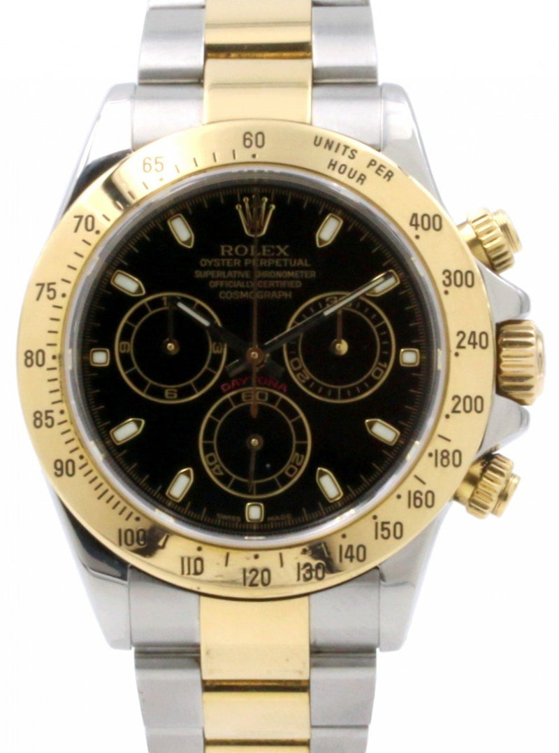 Men's Rolex Daytona 116523 Black Chronograph Yellow Gold Stainless Steel PRE-OWNED