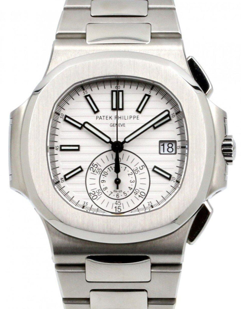 Men's Patek Philippe Nautilus Chronograph Date Stainless Steel White 40mm Dial Steel Bracelet 5980/1A-019 - BRAND NEW