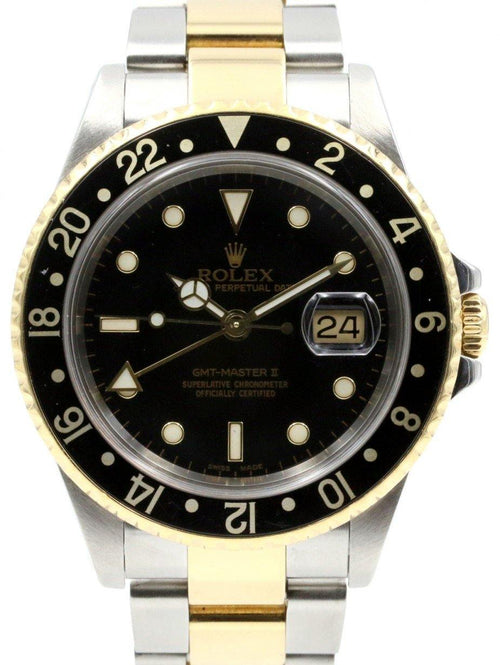 Rolex GMT-Master II 16713 Men's 40mm Black Yellow Gold Stainless Steel Oyster PRE-OWNED - Global Timez