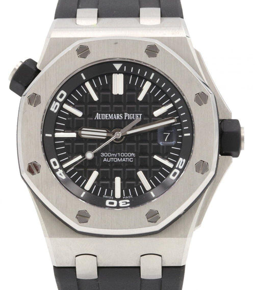 Men's Audemars Piguet 15710ST.OO.A002CA.01 Royal Oak Offshore Diver 42mm Black Index Stainless Steel Rubber Automatic PRE-OWNED - Global Timez