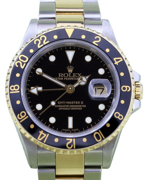 Men's Rolex GMT-Master II 16713 40mm 18k Yellow Gold Stainless Steel PRE-OWNED - Global Timez