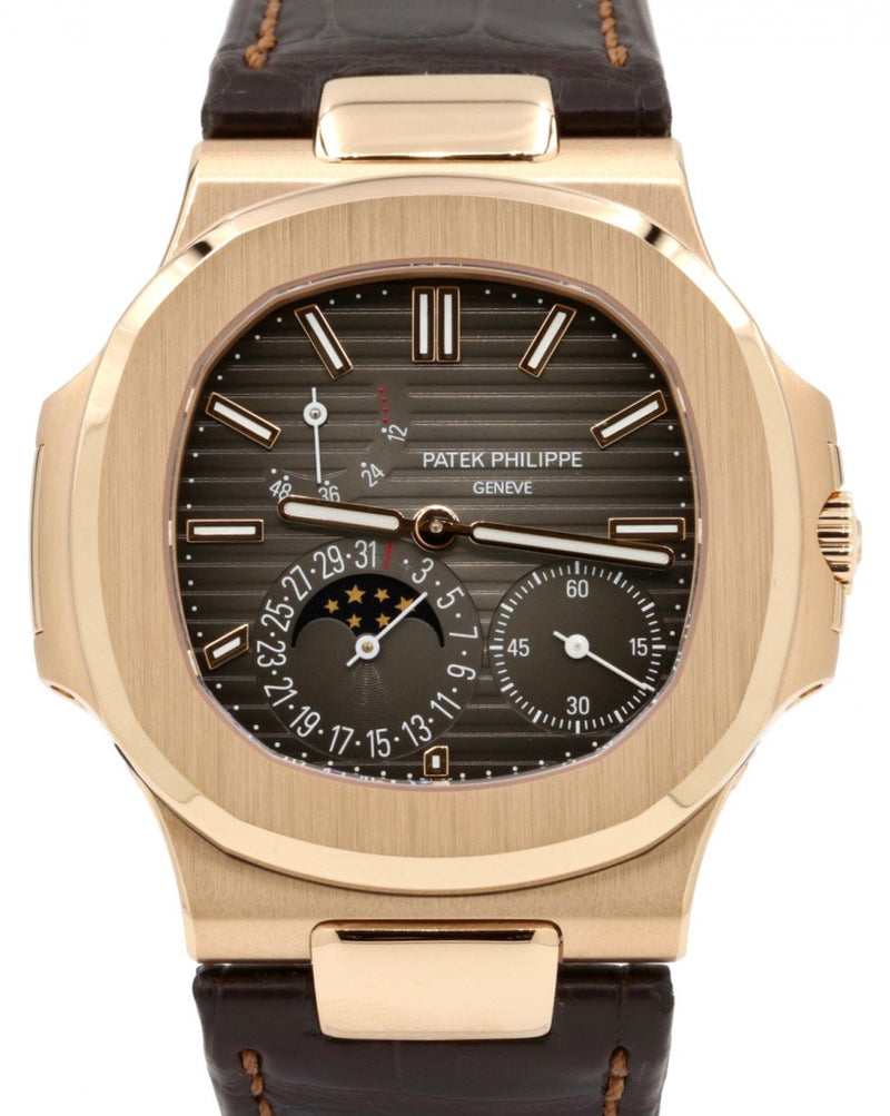 Men's Patek Philippe Nautilus Moon Phase Date Black Index Dial Rose Gold Bezel Brown Leather Strap 40mm 5712R-001 - BRAND NEW 2020