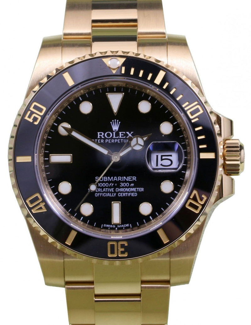 Men's Rolex Submariner Date 18k Yellow Gold Black Dial Oyster Bracelet 116618LN - PRE-OWNED