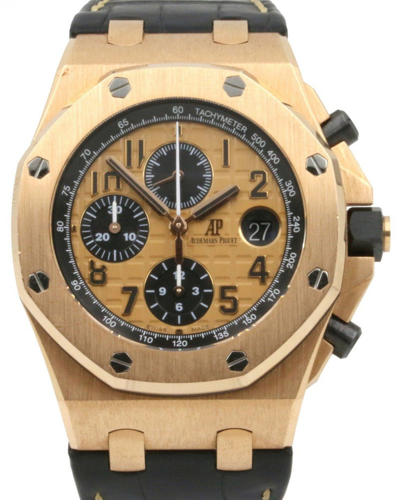Men's Audemars Piguet 26470OR.OO.A002CR.01 Royal Oak Offshore Chronograph 42mm Champagne Arabic Rose Gold Leather BRAND NEW
