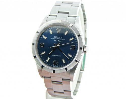 Men's Rolex Stainless Steel Air-King Blue Arabic 14010M PRE-OWNED - Global Timez