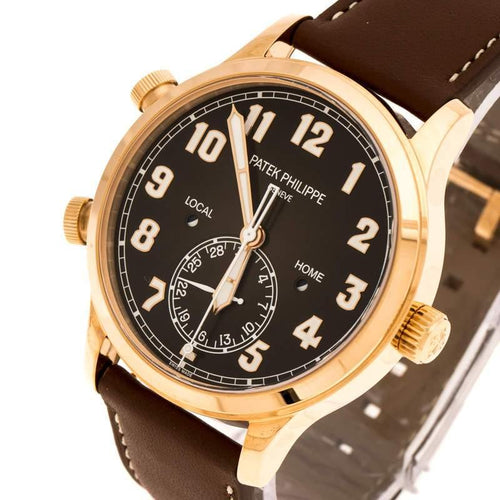 Patek Philippe Black 18K Rose Gold Calatrava Pilot Travel Time 5524R-001 Men's Wristwatch 42 mm BRAND NEW - Global Timez