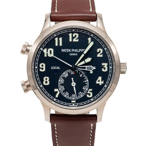 Patek Philippe Black Calatrava Pilot Travel Time White Gold Men's Watch 42MM BRAND NEW - Global Timez