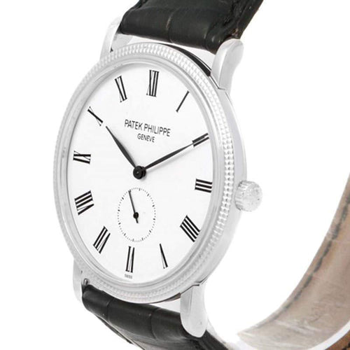 Patek Philippe White 18K White Gold Calatrava Men's Wristwatch 36MM PRE-OWNED - Global Timez