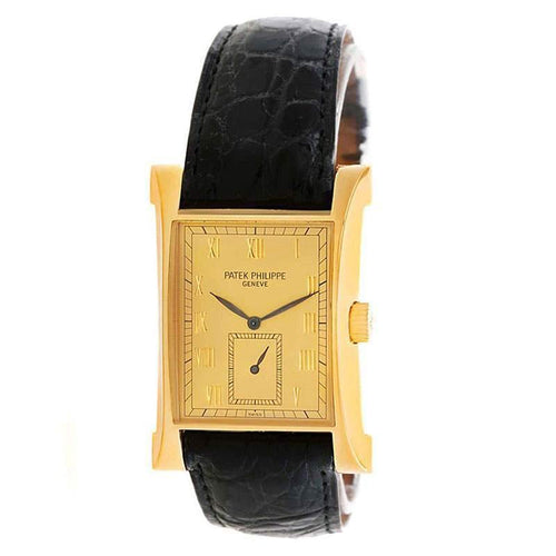 Patek Philippe Champagne 18K Yellow Gold Pagoda Men's Wristwatch 26MM PRE-OWNED - Global Timez