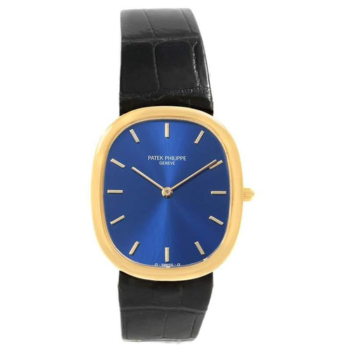 Patek Philippe Blue 18K Yellow Gold Golden Ellipse Men's Wristwatch 31MM PRE-OWNED - Global Timez