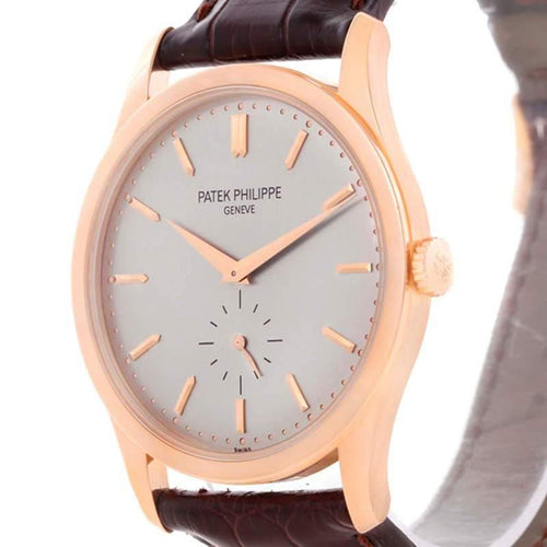 Patek Philippe Silver 18K Rose Gold Calatrava Men's Wristwatch 37MM PRE-OWNED - Global Timez