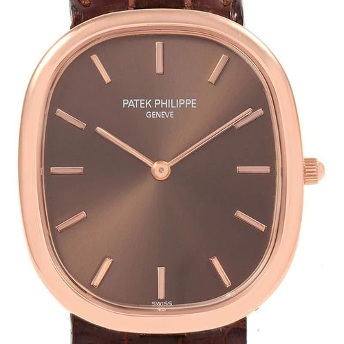 Patek Philippe Brown 18K Rose Gold Golden Ellipse Men's Wristwatch 35.6MM PRE-OWNED - Global Timez