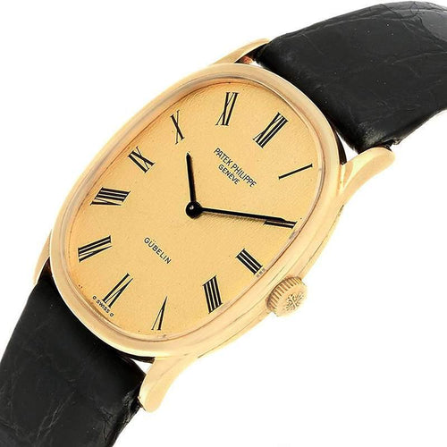 Patek Philippe Champagne 18K Yellow Gold and Leather Golden Ellipse 3846 Men's Wristwatch 32x27MM PRE-OWNED - Global Timez