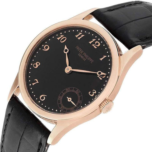 Patek Philippe Black 18K Rose Gold Calatrava 5026R Men's Wristwatch 33 MM PRE-OWNED - Global Timez