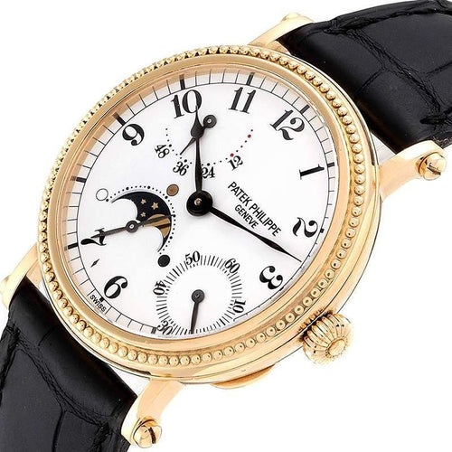 Patek Philippe White 18K Yellow Gold Calatrava Moon Phase 5015 Men's Wristwatch 35.5MM PRE-OWNED - Global Timez